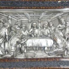 Antigüedades: CUADRO TROQUEL PROFUNDO ÚLTIMA CENA BAÑADO PLATA. Lote 116540191