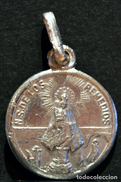 Antigüedades: PEQUEÑA MEDALLA ESCAPULARIO NUESTRA SEÑORA DE LOS REMEDIOS Y SAGRADO CORAZÓN DE JESÚS - Foto 2 - 82736164