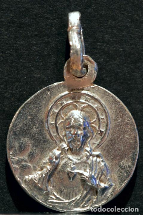 Antigüedades: PEQUEÑA MEDALLA ESCAPULARIO NUESTRA SEÑORA DE LOS REMEDIOS Y SAGRADO CORAZÓN DE JESÚS - Foto 3 - 82736164