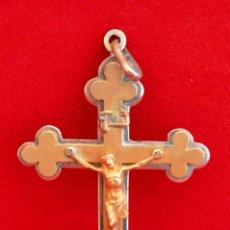 Antigüedades: ANTIGUA CRUZ TRINIDAD CRUCIFIJO COLGANTE EN BRONCE SOBRE DORADO . Lote 56694083