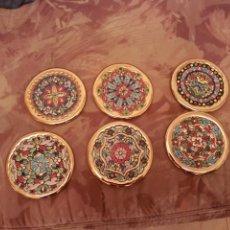 Antiquitäten - 6 plato de decoracion pintado a mano con esmaltes y oro de ley - 124510447