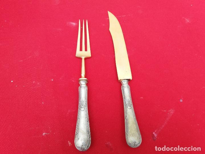 Antigüedades: cuchillo y trinchador de alpaca - Foto 2 - 116616299