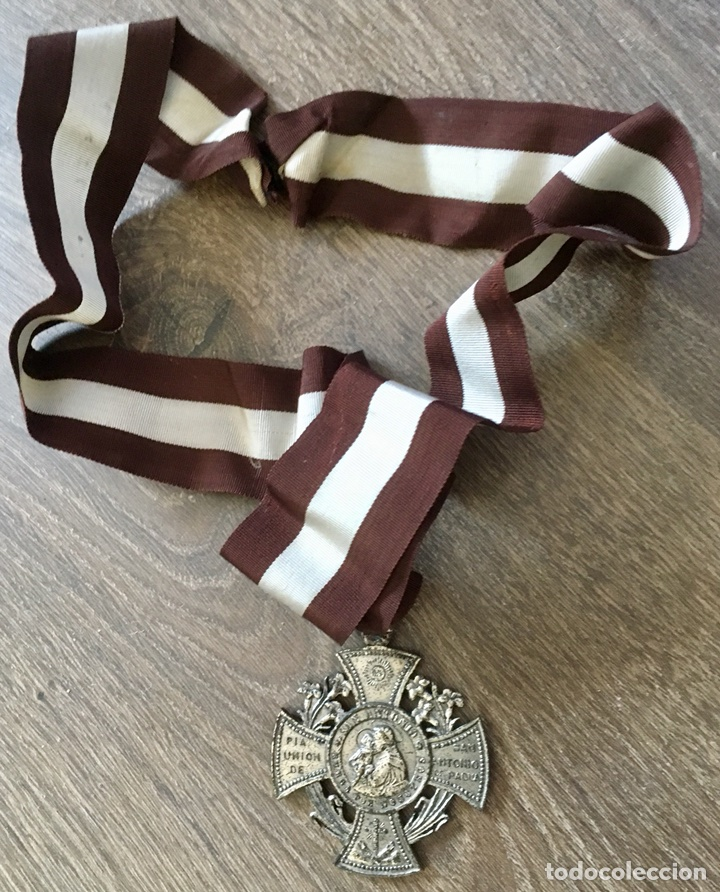 MEDALLA SAN ANTONIO DE PADUA CON CINTA (Antigüedades - Religiosas - Medallas Antiguas)