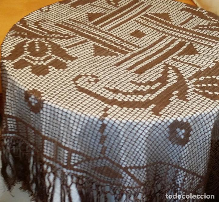 Antigüedades: Antiguo mantel Art Deco - seda marron - Foto 3 - 116633339