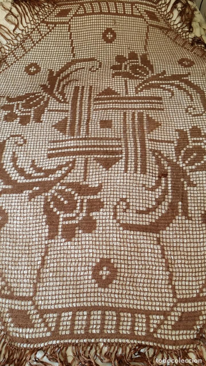 Antigüedades: Antiguo mantel Art Deco - seda marron - Foto 4 - 116633339