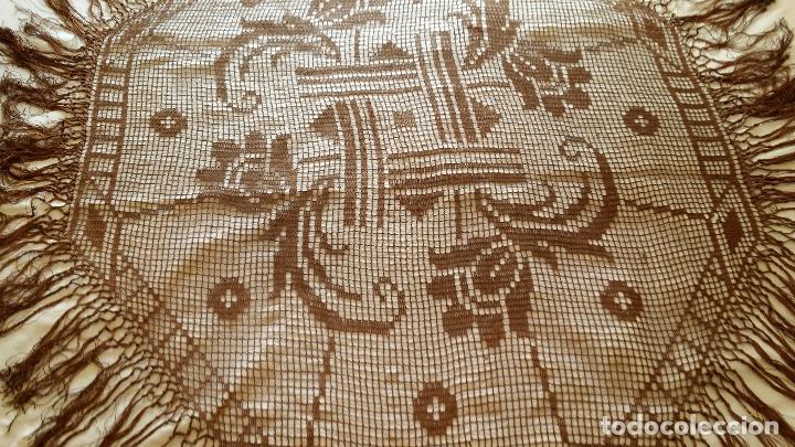 Antigüedades: Antiguo mantel Art Deco - seda marron - Foto 7 - 116633339
