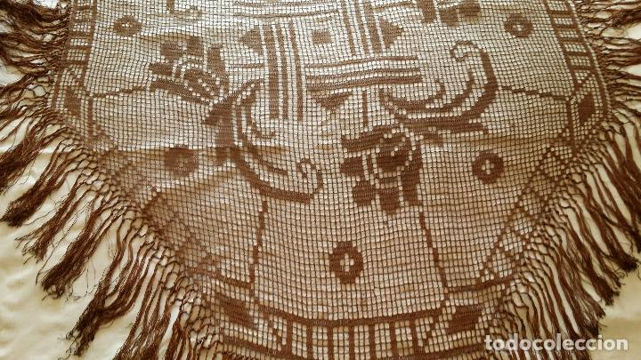 Antigüedades: Antiguo mantel Art Deco - seda marron - Foto 9 - 116633339