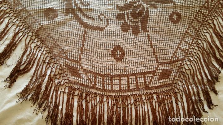 Antigüedades: Antiguo mantel Art Deco - seda marron - Foto 10 - 116633339