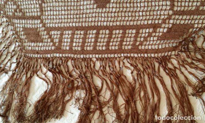 Antigüedades: Antiguo mantel Art Deco - seda marron - Foto 11 - 116633339