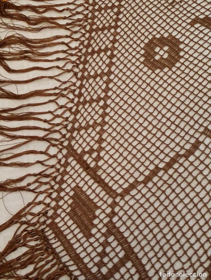 Antigüedades: Antiguo mantel Art Deco - seda marron - Foto 12 - 116633339