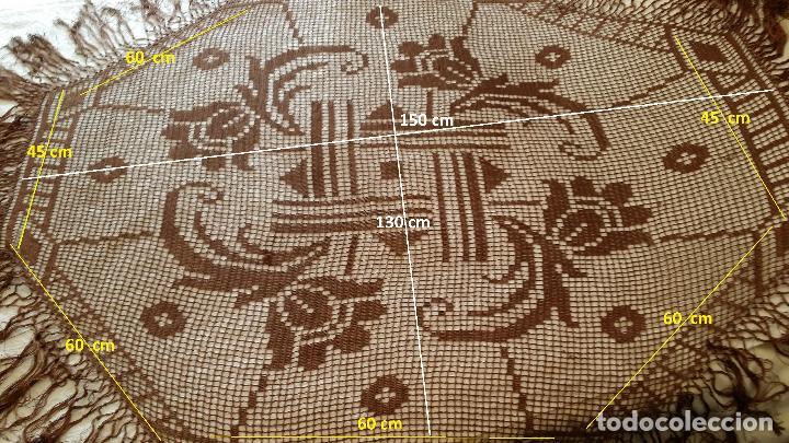 Antigüedades: Antiguo mantel Art Deco - seda marron - Foto 16 - 116633339