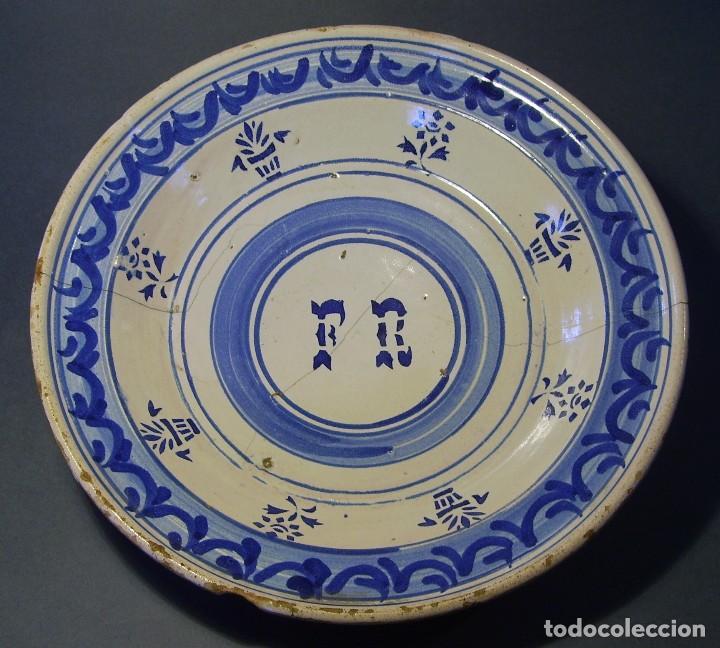 GRAN PLATO CERÁMICA ARAGONESA DE MUEL XIX (Antigüedades - Porcelanas y Cerámicas - Teruel)