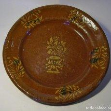 Antigüedades: GRAN PLATO DE TERRISSA CATALANA ( MATARÓ ) XIX . Lote 116662507