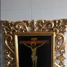 Antigüedades: REPRODUCCION CRISTO CRUCIFICADO DE VELAZQUEZ, CON GRAN MARCO DORADO. Lote 116675759