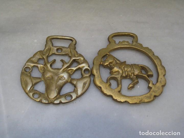 Antigüedades: 3 placas antiguas de bronce para correaje de caballo - Foto 2 - 116684047
