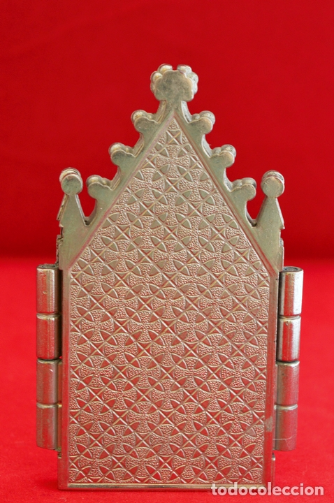 Antigüedades: CAPILLA PORTA PAZ TRIPTICO METALICO CAPILLA VIRGEN DEL LA CARIDAD CARTAGENA - Foto 5 - 57020024