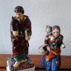 Antigüedades: LOTE DE 2 FIGURITAS ANTÍGUAS DE PORCELANA. SAN FELIPE Y MADRE CON NIÑO.. Lote 116696655