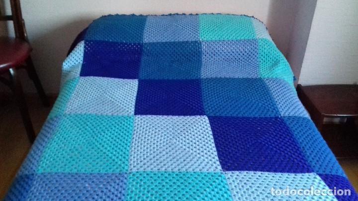 Antigua colcha de crochet de lana hecha a mano comprar for Colchas de punto de lana