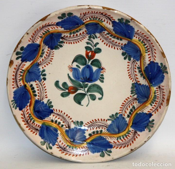 ANTIGUO PLATO DE RIBESALBES DEL SIGLO XIX. MARCAS EN LA BASE (Antigüedades - Porcelanas y Cerámicas - Ribesalbes)