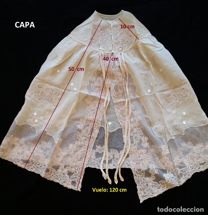 Antigüedades: Antiguo traje de cristianar / bautismo: capa y faldón - Foto 4 - 155052881