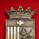Antigüedades: ESCUDO EN BRONCE MACIZO ATMELLA DE MAR TARRAGONA TAMAÑO GRANDE 450 GRAMOS. Lote 52356584