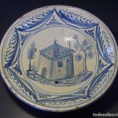 Antigüedades: GRAN Y ROTUNDO PLATO DE CERÁMICA ARAGONESA DE MUEL XIX. Lote 116741455