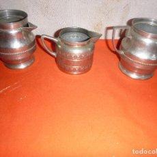 Antigüedades: LOTE DE TRES PIEZAS INFUSIONES METAL PLATEADO. Lote 116843951