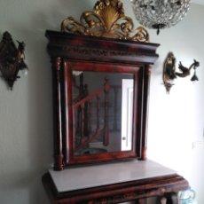 Antigüedades: GRAN CONSOLA ISABELINA CON ESPEJO S.XIX. Lote 116860698
