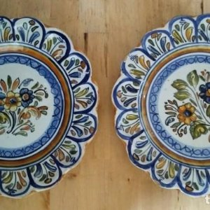 2 platos 25cm con inscripción en la parte trasera - flores