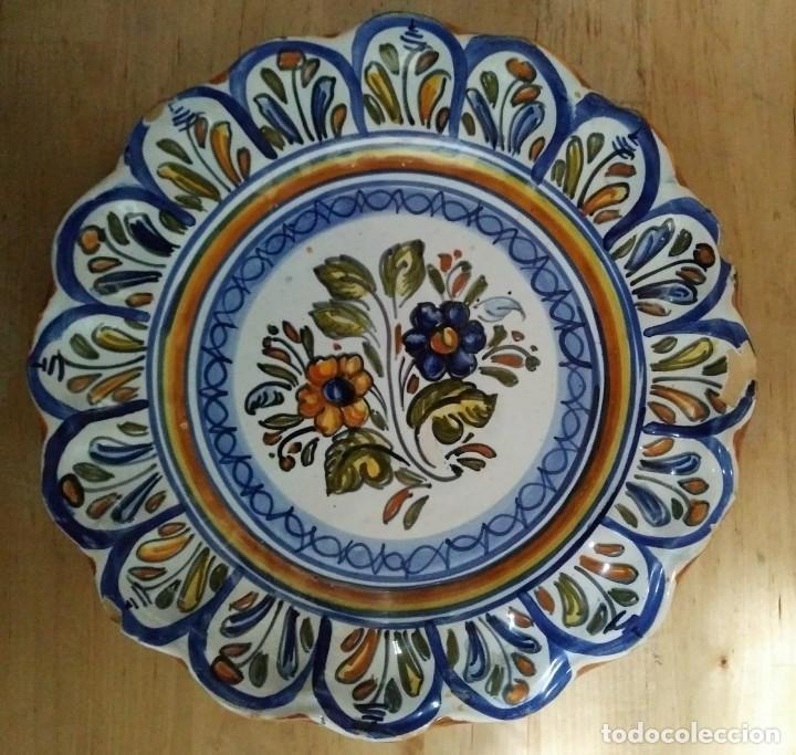 Antigüedades: 2 platos 25cm con inscripción en la parte trasera - flores - Foto 3 - 116877991