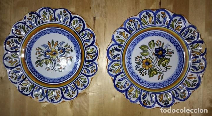 Antigüedades: 2 platos 25cm con inscripción en la parte trasera - flores - Foto 7 - 116877991