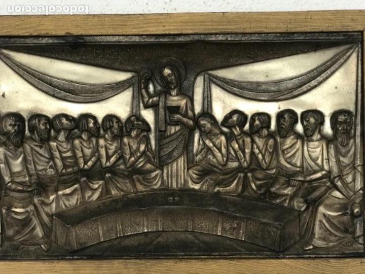 Antigüedades: SANTA CENA EN RELIEVE, METAL PLATEADO. ART DECO. - Foto 2 - 116898935