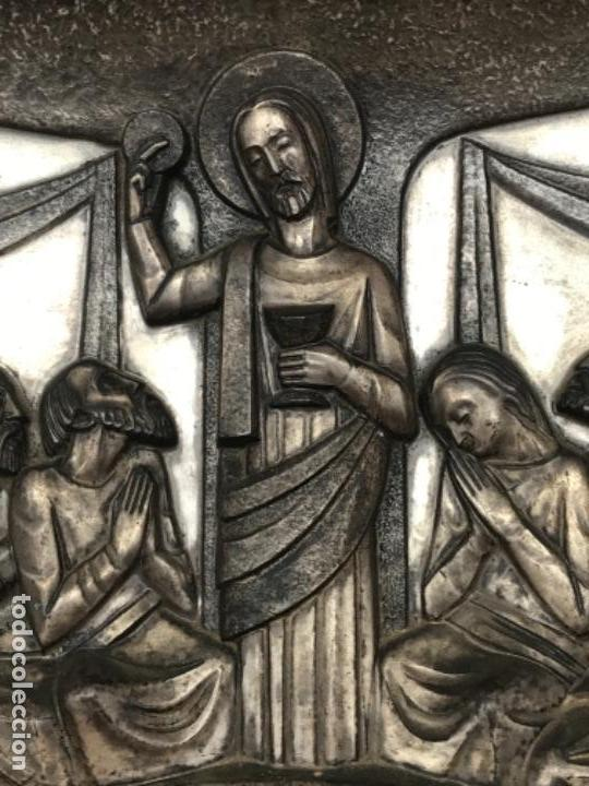 Antigüedades: SANTA CENA EN RELIEVE, METAL PLATEADO. ART DECO. - Foto 5 - 116898935