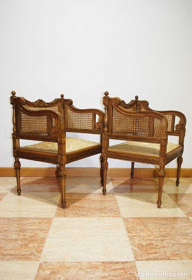 Antigüedades: SILLONES ANTIGUOS TALLADOS CON REJILLA, ESTILO LUIS XVI - Foto 7 - 129967499