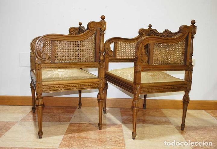 Antigüedades: SILLONES ANTIGUOS TALLADOS CON REJILLA, ESTILO LUIS XVI - Foto 9 - 129967499