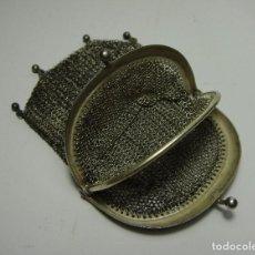 Antigüedades: ANTIGUO BOLSO MONEDERO DE MALLA. PLATA .800 MLS (CON CONTRASTES). CON 2 COMPARTIMENTOS.. Lote 116950231