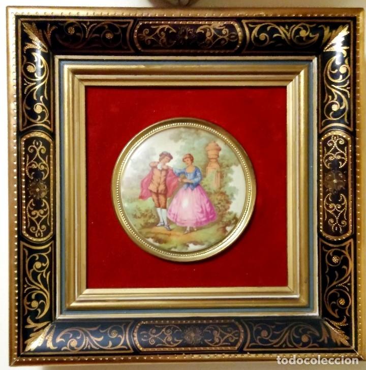 medallón de porcelana fragonard con marco de ma - Comprar Marcos ...