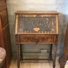 Antigüedades: ESCRITORIO TALLADO EN MADERA DE ROBLE. Lote 116968911