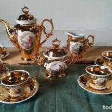Antigüedades: JUEGO CAFÉ PORCELANA ORO . Lote 142403317