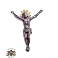 Antigüedades: CRISTO DE METAL TROQUELADO 4,5 X 3,5 CM. Lote 117006703