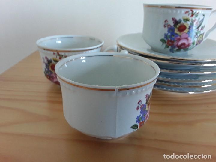Antigüedades: Tazas y platillos porcelana Santa Clara - Foto 2 - 117019035