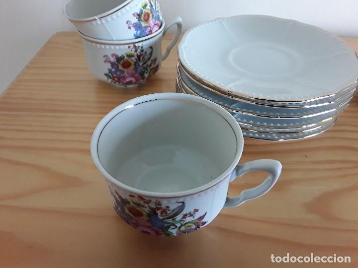 Antigüedades: Tazas y platillos porcelana Santa Clara - Foto 3 - 117019035