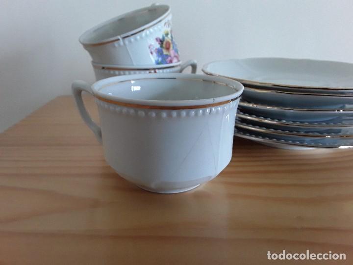 Antigüedades: Tazas y platillos porcelana Santa Clara - Foto 4 - 117019035