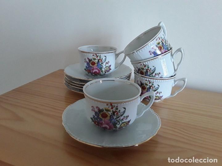 Antigüedades: Tazas y platillos porcelana Santa Clara - Foto 8 - 117019035