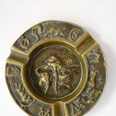 Antigüedades: CENICERO DE BRONCE GRABADO CON MOTIVOS TAURINOS. Lote 117022619