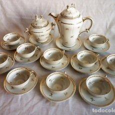 Antigüedades: ANTIGUO JUEGO DE CAFE DE PORCELANA DE LIMOGES SELLADA - SINGER -. Lote 117041211