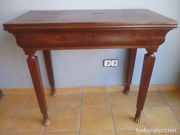 ANTIGUA MESA - CONSOLA IMPERIO - MADERA DE CAOBA - PATAS DE GARRA DORADAS - AÑO 1800 (Antigüedades - Muebles Antiguos - Mesas Antiguas)