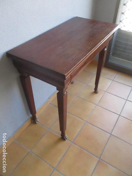 Antigüedades: Antigua Mesa - Consola Imperio - Madera de Caoba - Patas de Garra Doradas - Año 1800 - Foto 9 - 117044487