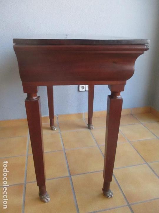Antigüedades: Antigua Mesa - Consola Imperio - Madera de Caoba - Patas de Garra Doradas - Año 1800 - Foto 17 - 117044487