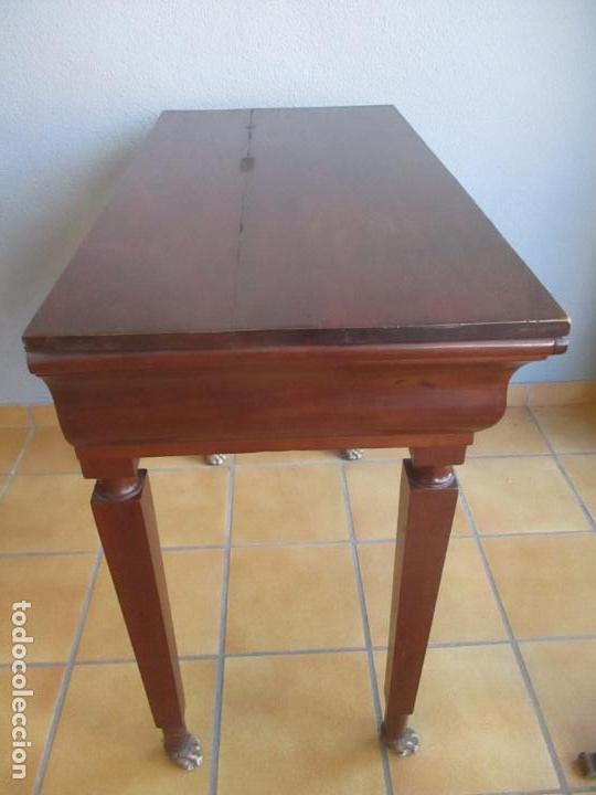 Antigüedades: Antigua Mesa - Consola Imperio - Madera de Caoba - Patas de Garra Doradas - Año 1800 - Foto 20 - 117044487